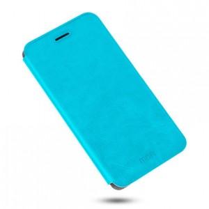 Глянцевый водоотталкивающий чехол флип подставка на силиконовой основе для Meizu M5 Голубой