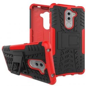 Противоударный двухкомпонентный силиконовый матовый непрозрачный чехол с поликарбонатными вставками экстрим защиты с встроенной ножкой-подставкой для Huawei Honor 6X Красный