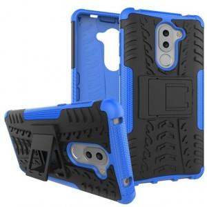 Противоударный двухкомпонентный силиконовый матовый непрозрачный чехол с поликарбонатными вставками экстрим защиты с встроенной ножкой-подставкой для Huawei Honor 6X Синий