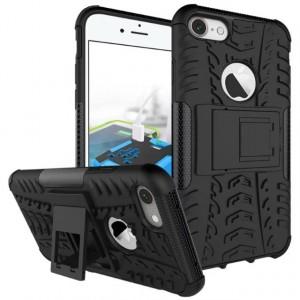 Противоударный двухкомпонентный силиконовый матовый непрозрачный чехол с поликарбонатными вставками экстрим защиты с встроенной ножкой-подставкой для Iphone 7 Черный