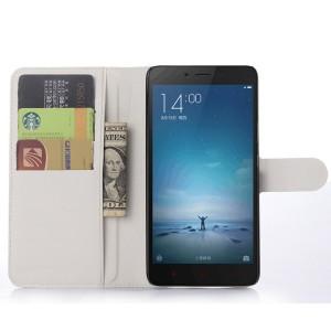 Чехол портмоне подставка на пластиковой основе с отсеком для карт на магнитной защелке для Xiaomi RedMi Note 2 Белый