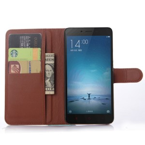 Чехол портмоне подставка на пластиковой основе с отсеком для карт на магнитной защелке для Xiaomi RedMi Note 2 Коричневый