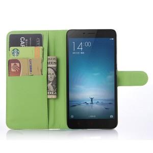 Чехол портмоне подставка на пластиковой основе с отсеком для карт на магнитной защелке для Xiaomi RedMi Note 2 Зеленый