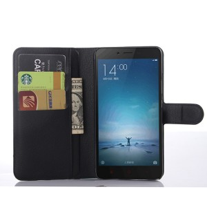 Чехол портмоне подставка на пластиковой основе с отсеком для карт на магнитной защелке для Xiaomi RedMi Note 2 Черный