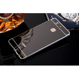 Двухкомпонентный чехол c металлическим бампером с поликарбонатной накладкой и зеркальным покрытием для Huawei P10