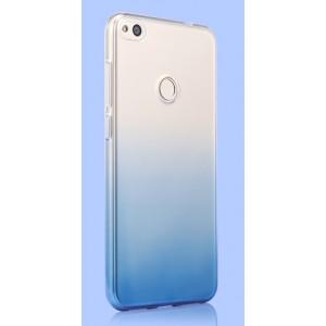 Силиконовый глянцевый полупрозрачный градиентный чехол для Huawei Honor 8 Lite  Синий