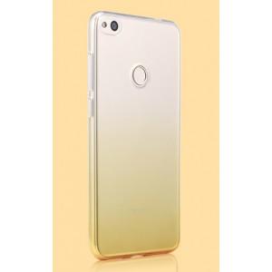 Силиконовый глянцевый полупрозрачный градиентный чехол для Huawei Honor 8 Lite  Бежевый