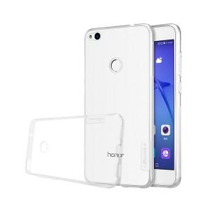 Силиконовый глянцевый транспарентный чехол с улучшенной защитой элементов корпуса (заглушки) для Huawei Honor 8 Lite Белый
