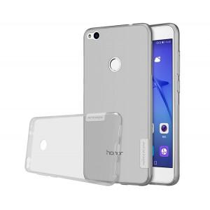 Силиконовый глянцевый транспарентный чехол с улучшенной защитой элементов корпуса (заглушки) для Huawei Honor 8 Lite Серый