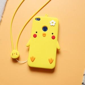 Силиконовый матовый непрозрачный дизайнерский фигурный чехол для Huawei Honor 8 Lite  Желтый