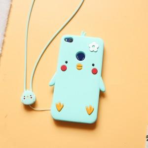 Силиконовый матовый непрозрачный дизайнерский фигурный чехол для Huawei Honor 8 Lite  Голубой