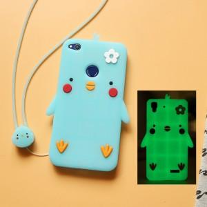Силиконовый матовый непрозрачный дизайнерский фигурный чехол для Huawei Honor 8 Lite  Синий