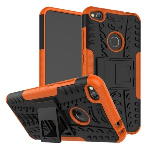Двухкомпонентный силиконовый матовый непрозрачный чехол с поликарбонатными бампером и крышкой и встроенной ножкой-подставкой для Huawei Honor 8 Lite  Оранжевый
