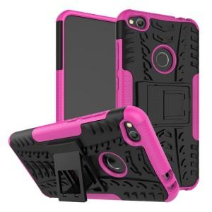 Двухкомпонентный силиконовый матовый непрозрачный чехол с поликарбонатными бампером и крышкой и встроенной ножкой-подставкой для Huawei Honor 8 Lite  Розовый