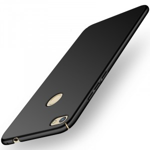 Пластиковый непрозрачный матовый нескользящий премиум чехол с улучшенной защитой элементов корпуса для Huawei Honor 8 Lite Черный