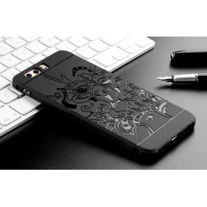 Силиконовый матовый непрозрачный чехол с текстурным покрытием Дракон для Huawei P10 Plus