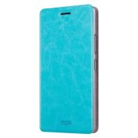 Глянцевый водоотталкивающий чехол горизонтальная книжка подставка на силиконовой основе для Xiaomi RedMi 4X Голубой