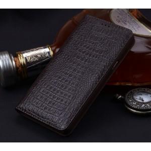 Кожаный чехол горизонтальная книжка (премиум нат. кожа крокодила) для Samsung Galaxy S8