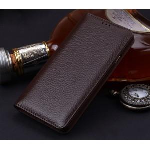 Кожаный чехол горизонтальная книжка (премиум нат. вощеная кожа) для Samsung Galaxy S8