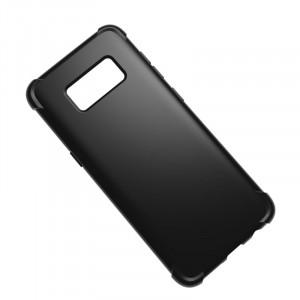 Силиконовый глянцевый полупрозрачный чехол с усиленными углами для Samsung Galaxy S8 Черный
