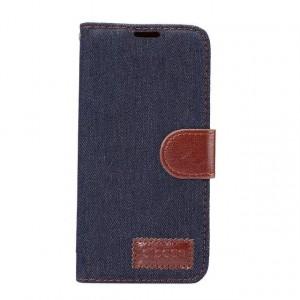 Чехол горизонтальная книжка подставка на силиконовой основе с отсеком для карт и тканевым покрытием на магнитной защелке для Samsung Galaxy S8 Черный