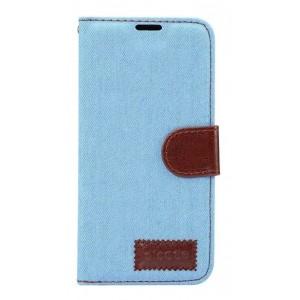 Чехол горизонтальная книжка подставка на силиконовой основе с отсеком для карт и тканевым покрытием на магнитной защелке для Samsung Galaxy S8 Голубой