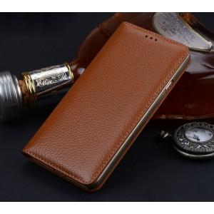 Кожаный чехол горизонтальная книжка (премиум нат. кожа) для Samsung Galaxy S8 Plus
