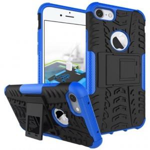 Противоударный двухкомпонентный силиконовый матовый непрозрачный чехол с поликарбонатными вставками экстрим защиты с встроенной ножкой-подставкой для Iphone 7 Plus Синий