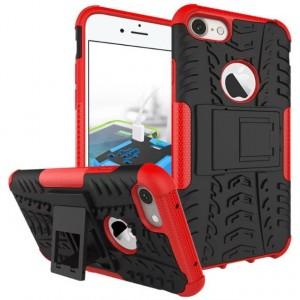 Противоударный двухкомпонентный силиконовый матовый непрозрачный чехол с поликарбонатными вставками экстрим защиты с встроенной ножкой-подставкой для Iphone 7 Plus Красный