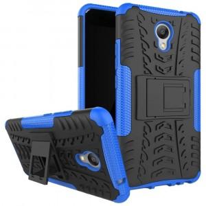 Противоударный двухкомпонентный силиконовый глянцевый непрозрачный чехол с поликарбонатными вставками экстрим защиты с встроенной ножкой-подставкой для Meizu M5 Note