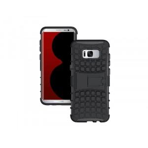 Противоударный двухкомпонентный силиконовый матовый непрозрачный чехол с поликарбонатными вставками экстрим защиты с встроенной ножкой-подставкой для Samsung Galaxy S8 Черный