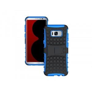 Противоударный двухкомпонентный силиконовый матовый непрозрачный чехол с поликарбонатными вставками экстрим защиты с встроенной ножкой-подставкой для Samsung Galaxy S8 Синий