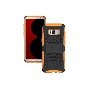 Противоударный двухкомпонентный силиконовый матовый непрозрачный чехол с поликарбонатными вставками экстрим защиты с встроенной ножкой-подставкой для Samsung Galaxy S8 Оранжевый