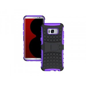 Противоударный двухкомпонентный силиконовый матовый непрозрачный чехол с поликарбонатными вставками экстрим защиты с встроенной ножкой-подставкой для Samsung Galaxy S8 Фиолетовый