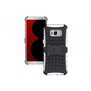 Противоударный двухкомпонентный силиконовый матовый непрозрачный чехол с поликарбонатными вставками экстрим защиты с встроенной ножкой-подставкой для Samsung Galaxy S8 Белый