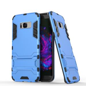 Противоударный двухкомпонентный силиконовый матовый непрозрачный чехол с поликарбонатными вставками экстрим защиты с встроенной ножкой-подставкой для Samsung Galaxy S8 Голубой