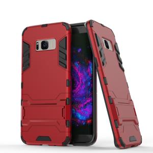 Противоударный двухкомпонентный силиконовый матовый непрозрачный чехол с поликарбонатными вставками экстрим защиты с встроенной ножкой-подставкой для Samsung Galaxy S8 Красный