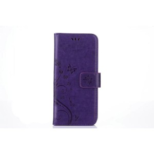 Чехол портмоне подставка текстура Цветы на силиконовой основе с отсеком для карт на магнитной защелке для Samsung Galaxy S8 Фиолетовый