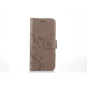 Чехол портмоне подставка текстура Цветы на силиконовой основе с отсеком для карт на магнитной защелке для Samsung Galaxy S8 Серый