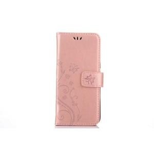 Чехол портмоне подставка текстура Цветы на силиконовой основе с отсеком для карт на магнитной защелке для Samsung Galaxy S8 Розовый