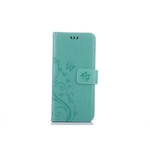 Чехол портмоне подставка текстура Цветы на силиконовой основе с отсеком для карт на магнитной защелке для Samsung Galaxy S8 Зеленый