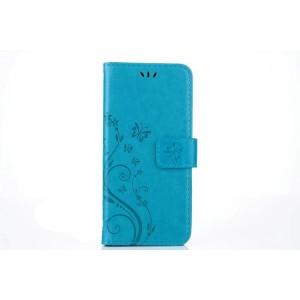 Чехол портмоне подставка текстура Цветы на силиконовой основе с отсеком для карт на магнитной защелке для Samsung Galaxy S8 Голубой