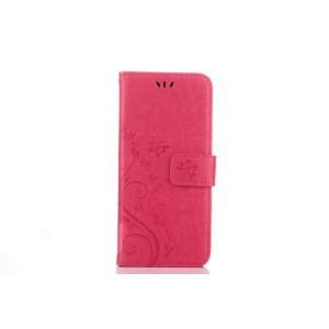 Чехол портмоне подставка текстура Цветы на силиконовой основе с отсеком для карт на магнитной защелке для Samsung Galaxy S8 Пурпурный