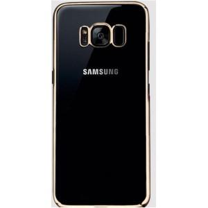 Силиконовый глянцевый полупрозрачный чехол Металлик для Samsung Galaxy S8  Бежевый