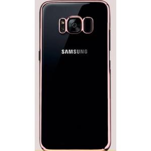 Силиконовый глянцевый полупрозрачный чехол Металлик для Samsung Galaxy S8  Розовый