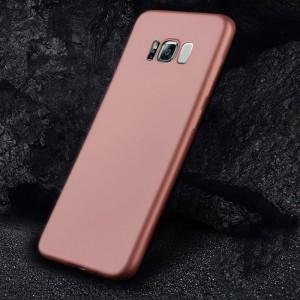 Силиконовый матовый непрозрачный чехол с нескользящим софт-тач покрытием для Samsung Galaxy S8 Розовый