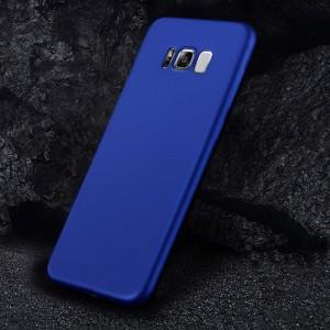 Силиконовый матовый непрозрачный чехол с нескользящим софт-тач покрытием для Samsung Galaxy S8 Синий