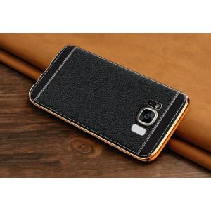 Силиконовый матовый непрозрачный чехол с текстурным покрытием Кожа для Samsung Galaxy S8