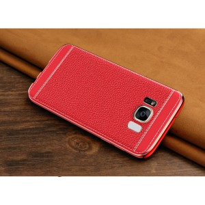 Силиконовый матовый непрозрачный чехол с текстурным покрытием Кожа для Samsung Galaxy S8 Красный