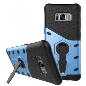 Двухкомпонентный силиконовый матовый непрозрачный чехол с поликарбонатными бампером и крышкой и встроенной ножкой-подставкой для Samsung Galaxy S8  Синий